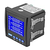 Akozon Multifunción Tensión de corriente eléctrica trifásica Frecuencia Potencia Medidor de energía V A Hz kWh RS485 Medidor de panel LCD digital Negro