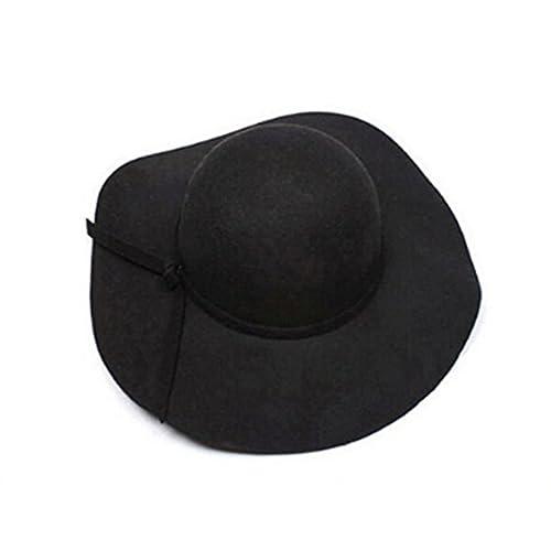 57b8d241c01 Qingsun Fashion British Style Women Vintage Large Wide Brim Wool Felt Floppy  Winter Fedora Hat Cap