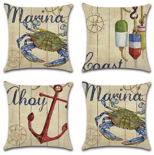JOVEGSRVA Juego de 4 fundas de almohada decorativas de cangrejo de dibujos animados de 45 cm x 45 cm, fundas de almohada para sala de estar, sofá, cama, fundas de almohada