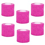 VideoPUP Tattoo Grip Cover Wrap,6PCS Disposable Cohesive Tattoo Grip Cover Elastic Bandage Handle Grip Tube for Tattoo Machine Tattoo Grip Accessories(Phosphor Pink)