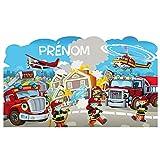 Sticker Tête de Lit pour Chambre d'enfant - Les Héros du Feu - Personnalisable avec Le Prénom De Votre Enfant - Dimensions 56 cm x 94 cm - Protection Anti-UV