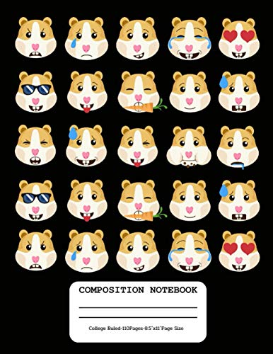 "Composition Notebook: Cute Emoji Guinea Pig, Funky Novelty Gifts for Guinea Pig Lovers, College Ruled Composition Lined Notebook for Students and Office Supply (Large 8.5""x11"", 110 Pages)"
