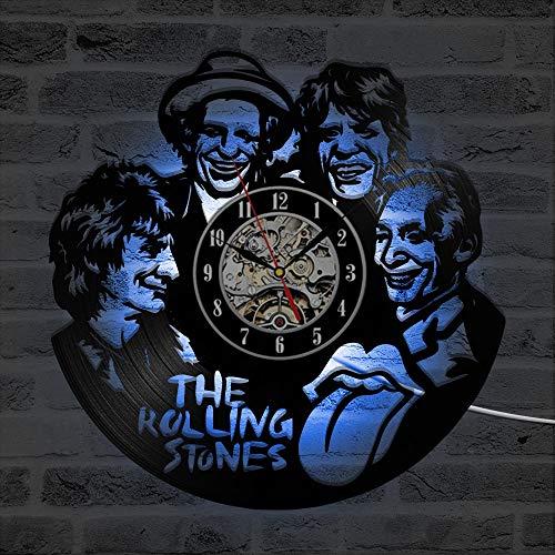 CD LED Wanduhr Die Rolling Stone Band Klassische Uhren Sieben Farben Ändern Modernes Design Vinyl Schallplatte Wanduhr Home Decor