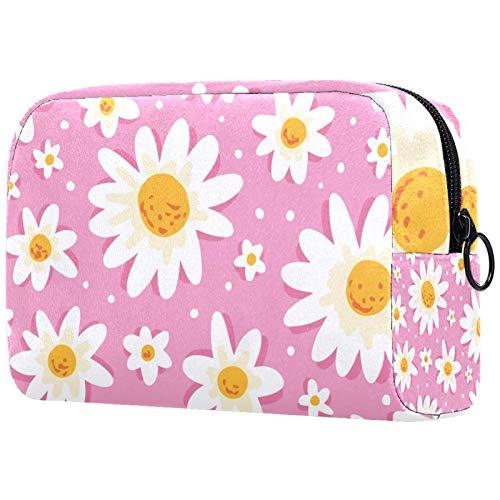 Bolsa de maquillaje para mujer con diseño de margaritas y flores