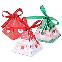 SUPVOX クリスマス紙箱キャンディビスケットは三角形の箱を扱います
