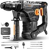 Bohrhammer, TACKLIFE 1500W 4-Funktion-Abbruchhammer mit Vibrationsdämpfungstechnologie, 7J Schlagstärke, 4350BPM und 900RPM, SDS-Plus und