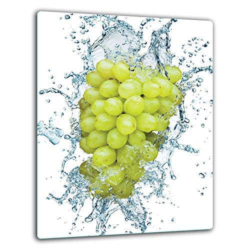 QTA | Placa protectora de vitrocerámica 40 x 52 cm 1 pieza cocina eléctrica universal para inducción protección contra salpicaduras tabla de cortar de vidrio templado como decoración