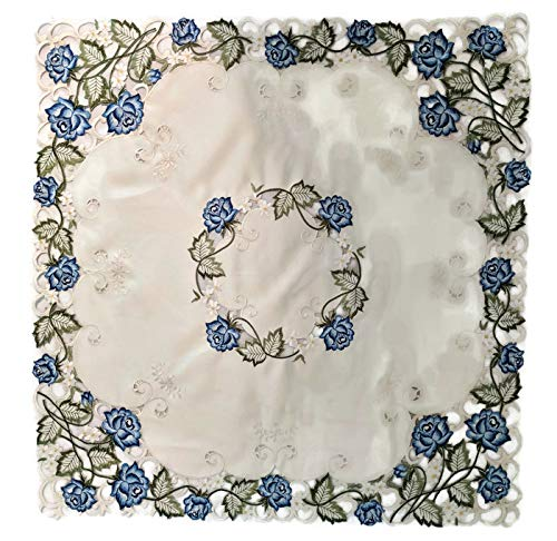 Doily Boutique Tablecloth or Table Topper Square Embroidered with Victorian Blue Roses, Size 34 inches