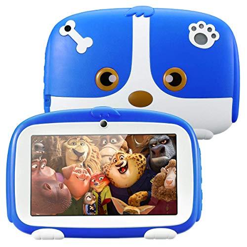 Excelvan Q738 Tablet per Bambini da 7 pollici, Android 9.0 1GB+16GB, A50 Cortex-A7 Quad CoreTablet Educativo, WiFi Doppia Fotocamera, Blu