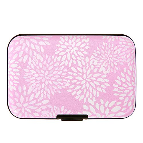 HDE RFID Credit Card Holder Front Pocket Hard Shell RFID Wallets for Women (Pink White Petals)