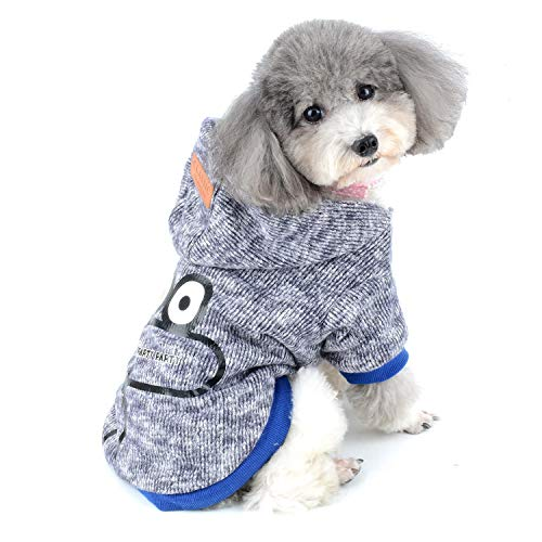 Zunea Hundepullover für kleine Hunde Winterjacken Fleece Gefüttert Sweater Kapuzenjacke Weich Warm Chihuahua Wintermantel mit Kapuze Welpen Strickbekleidung für Haustier Hunde Katzen Blau L