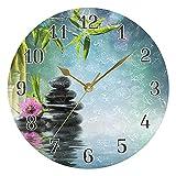 KKAYHA - Reloj de pared con diseño de orquídea zen japonesa, 25 cm, funciona con...
