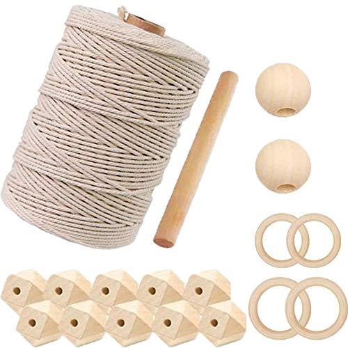 Cuerda de Cáñamo, Cuerda de Yute Natural, Natural Vintage de Cuerda de Cáñamo, Cuerda de Jardinería Bricolaje, Cordón de Macramé Algodón Natural, para Decoración, Bricolaje Jardinería