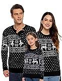 Aibrou Suéter de Navidad para Familia,Jersey de Copos de Nieve de Renos navideños para Mujer Hombre,Jersey Pullover de Punto Vintage de Inviernno Manga Larga para Niño Niña (1# Papá Negro S)