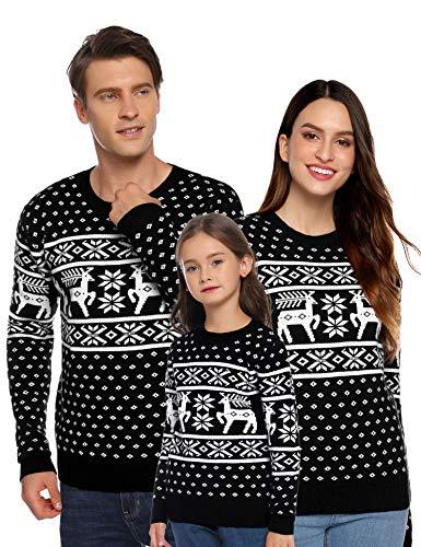 Aibrou Suéter de Navidad para Familia,Jersey de Copos de Nieve de Renos navideños para Mujer Hombre,Jersey Pullover de Punto Vintage de Inviernno Manga Larga para Niño Niña (1# Papá Negro M)
