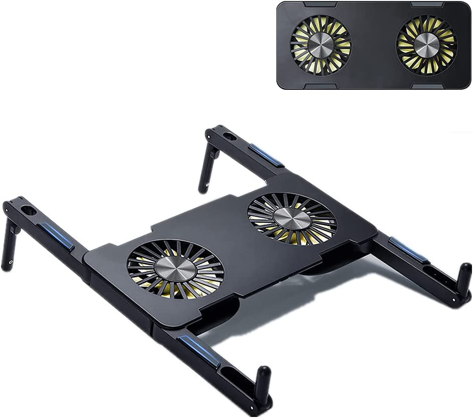 SOARCHICK Portable Laptop Cooler Stand with Double Fans Foldable USB Laptop Cooling Pad Holder Riser for 12-17 inches Laptop Lightweight Quiet Slim 7 Color Lights Change Silicone Non-Slip (Black)
