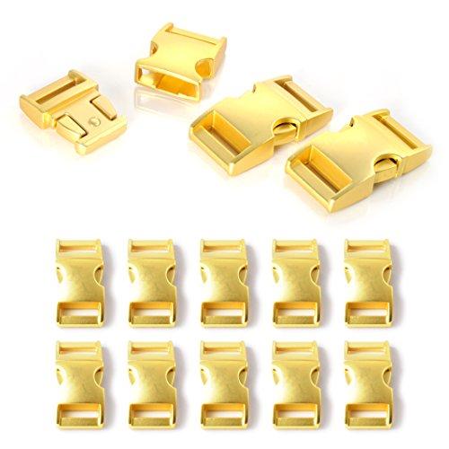 """Fermoir à clip en métal, idéal pour les paracordes (bracelet, collier pour chien, etc), boucle, attache à clipser, grandeur: M, 5/8"""", 40mm x 20mm, couleur: or, de la marque Ganzoo - lot de 10 fermoirs"""