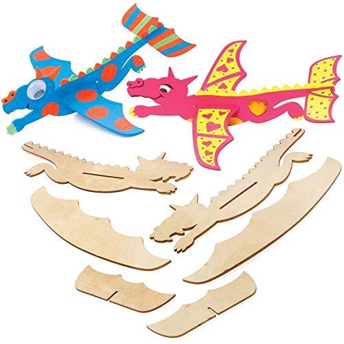 Baker Ross FE239 Drachen Segelflugzeug Bastelset - 8er Pack, Holzset für Kinder zum Bemalen, Dekorieren, Personalisieren und Spielen