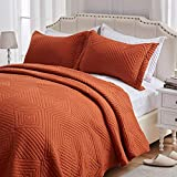 SunStyle Home Quilt Set 3 Pieces King Quilt Set Umber...