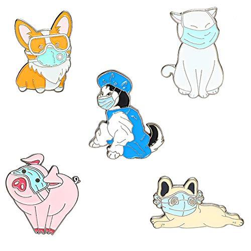 Novelty Animal Lapel Pins Set Cartoon Cut Corgi Husky French Bulldog Dog Pig Cat Enamel Pin for Women Girls Funny Lapel Badge Pins for Jackets