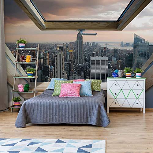 New York Skyline Der Stadt 3D-Dachfenster-Ansicht Vlies Fototapete Fotomural - Wandbild - Tapete - 254cm x 184cm / 2 Teilig - Gedrückt auf 130gsm Vlies - 10416V4 - New York