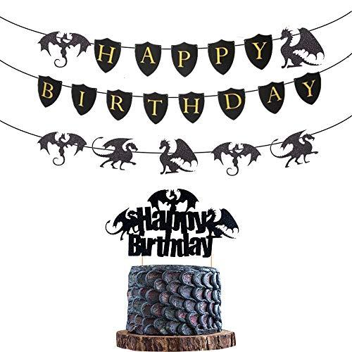 2 PCS Dragon Cake Dekoration Dragon Geburtstag Banner Dragon Geburtstagsfeier Dekoration Dragon Geburtstagszubehör Dragon Party Picks Fantasy Party