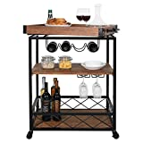 charaHOME Industrial Kitchen Serving Carts Rolling Bar Cart with 3 Tier Storage Shelves bar carts for The Home with Wine Glass Holder,Lockable Caster Liquor Cart Removable Top Box Container