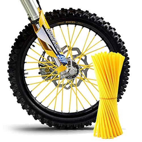 TREONK 72pcs Copriraggi Ruote - Kit Rivestimento Raggi Motocross Cerchioni Colorati per Ruote Anteriore e Posteriore da 19  e 21