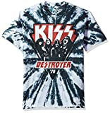 Liquid Blue Unisex-Adult's Kiss Destroyer 1976 Short Sleeve T-Shirt, Multi Colored tie dye, Large