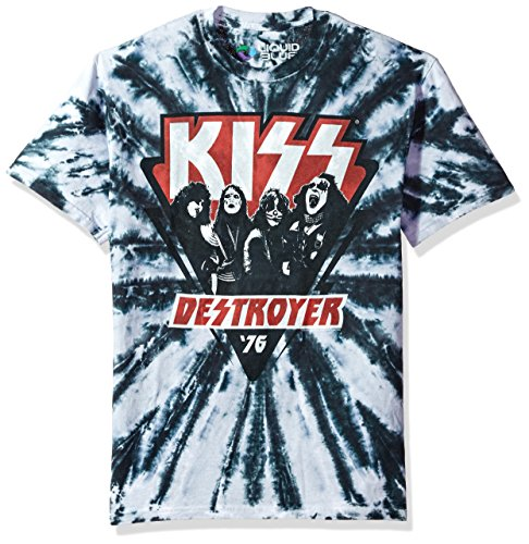 Liquid Blue Unisex-Adult's Kiss Destroyer 1976 Short Sleeve T-Shirt, Multi Colored tie dye, Medium