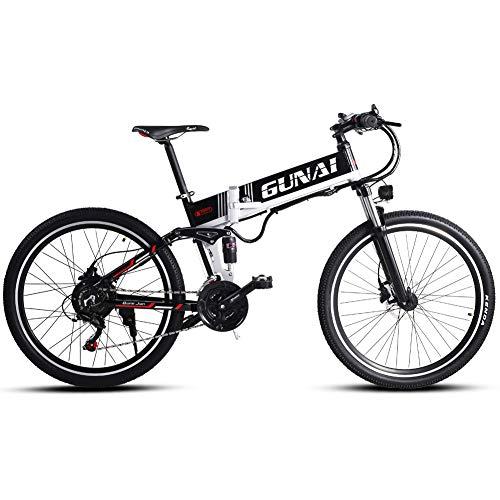 GUNAI Bicicleta eléctrica, 500W de 26 Pulgadas, Bicicleta de montaña Urbana con Asiento Trasero, con batería Oculta de 48V y Freno de Disco