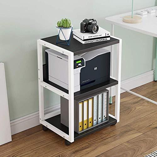 Soporte Para Impresora Estante Para Impresora Creativa Estante De Almacenamiento Para Copiadora De 3 Capas Estante De Almacenamiento Para Oficina En Casa Con 4 Ruedas Fáciles De Mover, White-c
