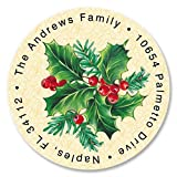 Holly Personalized Return Address Labels – Set of 144, Round Self-Adhesive, Flat-Sheet Labels, Holiday Design by Colorful Images