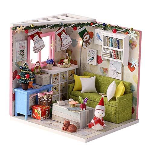 chiwanji Kits de Casa de Muñecas para Construir Un Conjunto con Muebles de Madera en Miniatura Montaje de Bricolaje 1/24