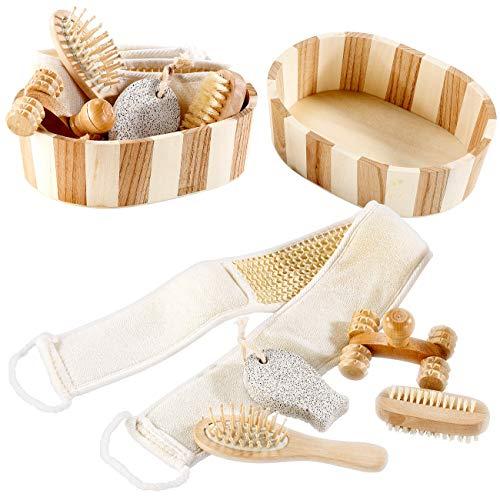 newgen medicals Sauna-Zubehör: 2er-Set Badeset aus Naturmaterialien, je 6-teiliges (Sauna-Geschenkset)
