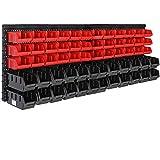 Deuba Set de 2 Estanterías de bricolaje con cajas 64 piezas y portaherramientas color Rojo y Negro organizador para taller