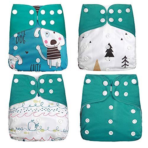 Wenosda Pannolini per bambini lavabili riutilizzabili per pannolino tascabile maggior parte dei neonati e bambini (4 pezzi) (Cucciolo + Piccolo albero + Balena + Verde)