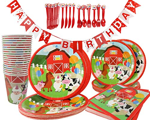 Barnyard Farm Animals Birthday Party Supplies 142 Piece Kit, Paper plates, Paper Cups, Napkins, Cutlery, Table Cover and Birthday Banner