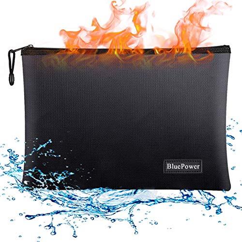 """BluePower Bolsa de Documento Ignífuga y Impermeable A4 15""""× 11"""",Bolsa de Batería Seguridad Anti Explosión,porta sobres con cremallera para documentos A4apta para,efectivo, factura,iPad,teléfono móvil"""