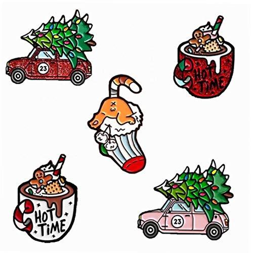 Lankater Árbol De Navidad del Coche 5pcs Helado Calcetines Broche De Cristal Linda Espumoso Copa De Helado Calcetines Coches Niños Moda Dril De Algodón De Navidad