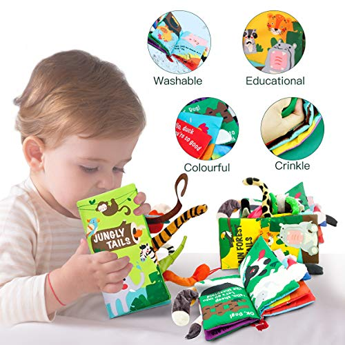 beiens Soft Baby Cloth Books, Touch and Feel Crinkle Books, for Babies, Infants & Toddler Early Development Interactive Stroller Toys, Baby Girl & Baby Boy Gift (Jungle Tails-1 Book)