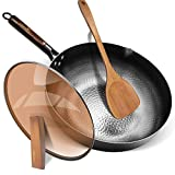 Fry Pan with Lid,Aneder Wok Pan Carbon Steel Wok with Detachable Wooden Handle & Wood Spatula Iron...