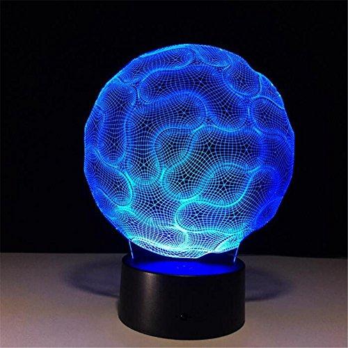 Veilleuses 3D Nuit Lumière Visualisation Glow 7 Changement de Couleur USB Bouton Tactile Et Intelligent Télécommande Bureau Éclairage de Table Beau Cadeau Décorations de Bureau à Domicile Jouets (Cerveau)
