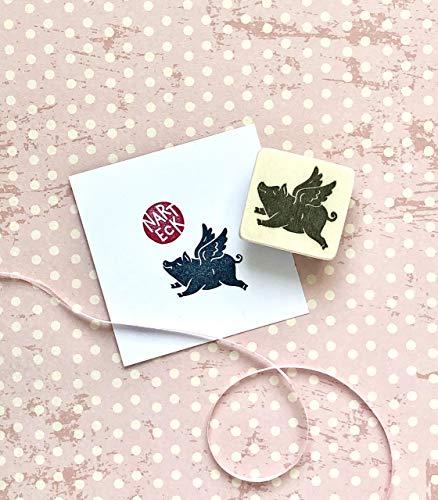 Glücksschwein Stempel, fliegendes Schweinchen, geflügeltes Schwein, Schwein mit Flügeln Motivstempel, handgeschnitzt, auf Holz montiert, Weihnachts-Stempel, Basteln, Holzstempel, DIY, Geschenk