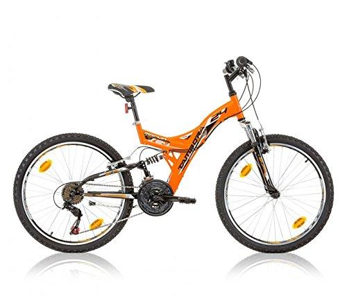 Frank Bikes 24 Zoll MTB Kinderfahrrad Mountainbike Vollgefedert Kinder Jugend Fahrrad Rad Bike 18 Shimano Gang Tambora ORANGE