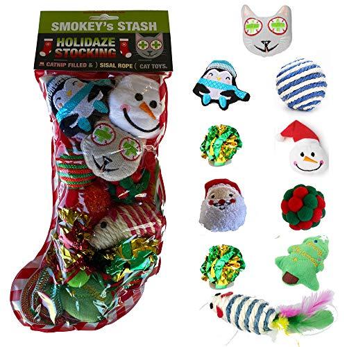 Smokey's Stash Christmas Cat Toys Stocking Catnip Toys Sisal Rope Kitten Toys for Cats