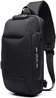OZUKO Sling Backpack USB Anti-Theft Men'S Chest Bag Casual Shoulder Bag (Black)