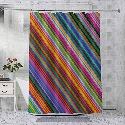 Juego de cortinas de ducha, diseño de líneas diagonales estrechas y angulares, con estampado de estilo digital, 72 x 96 pulgadas, cortinas de baño personalizadas, multicolor