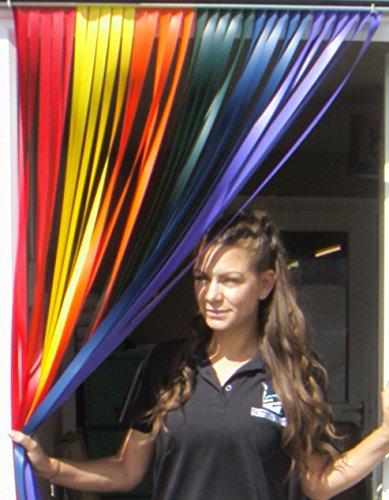 Holland Plastics Original Brand Wohnwagen-Türvorhang, Fliegengitter, Insektenschutz, Streifenvorhang -'Regenbogen' - 62cm breit