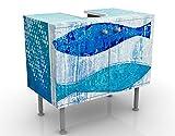 Mobile per lavabo design Fish In The Blue 60x55x35cm, basso, Larghezza: 60cm, regolabile, mobiletto da lavandino, lavandino, mobiletto da lavabo, lavabo, mobiletto, bagno, bagnetto, mobile da bagno